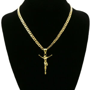 "14k SMALL Jesus Pendant 5mm 24"" Cuban Link"