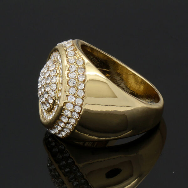 14K Gold Plated Round Mid Dome Fully Cz Ring