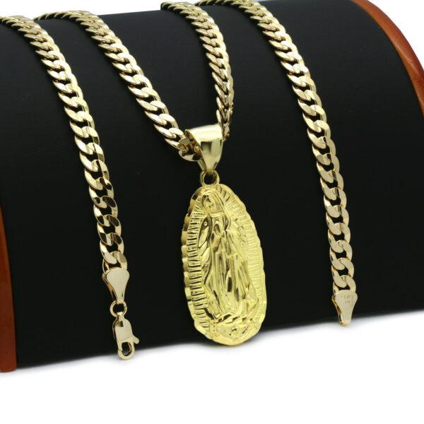 18k Guadalupe Pendant Cuban Chain