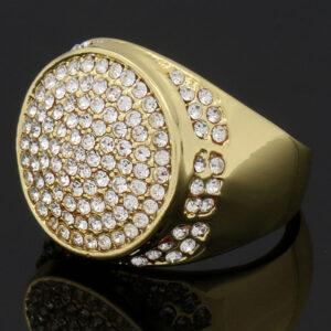 14K Gold Plated Hip Hop Cz 4 Rings Bundle w/Medusa Pendant