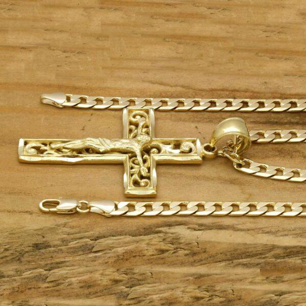 18k JESUS in Cross Pendant Cuban Chain