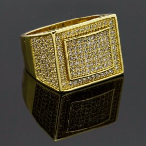 14K Gold Plated Rectangle Dome Side CZ Ring