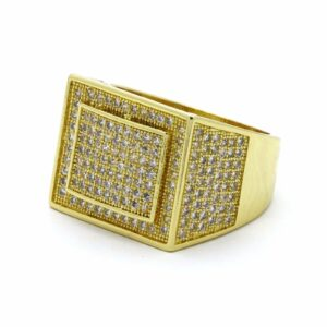 Men's Iced Out Large Rectangle Dome Sided Pinky Ring