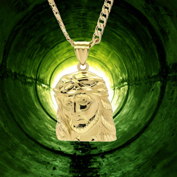 "18k Big Jesus face Pendant w/24"" Cuban Chain"