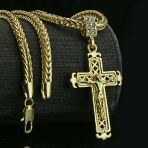 "14k Jesus Sharp Cross Pendant w/24"" Franco Chain"