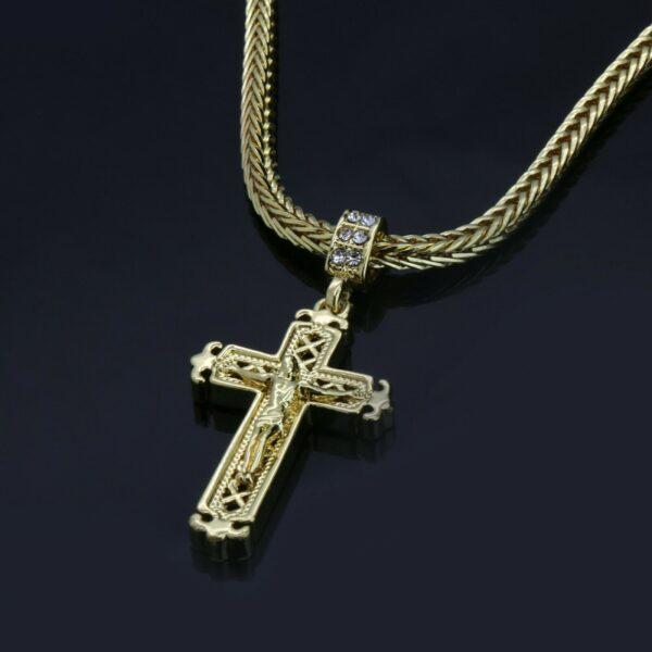 "14k Jesus Sharp Cross Pendant w/24"" Franco Chain"