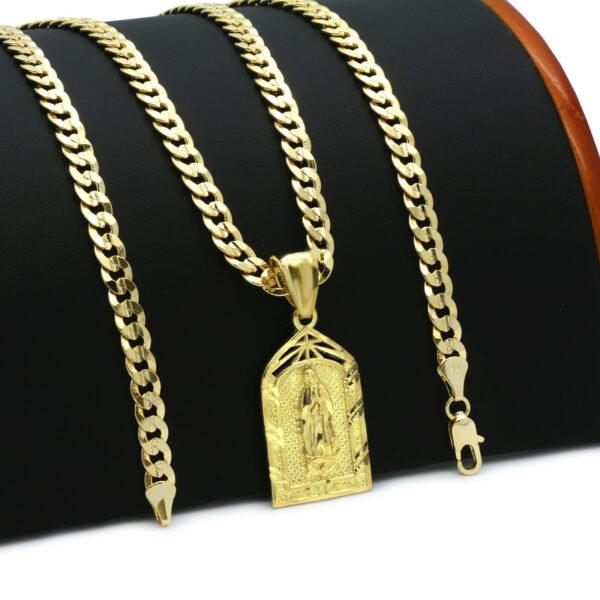 "14k Guadalupe Pendant w/24"" Cuban Chain"