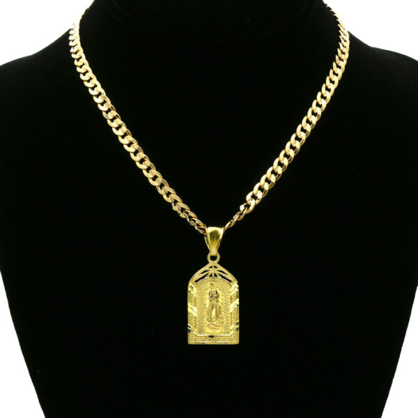 "14k Guadalupe Pendant w/24"" Cuban Chain"