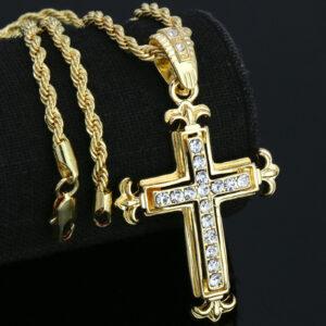 14K Jesus Cross Pendant w/24