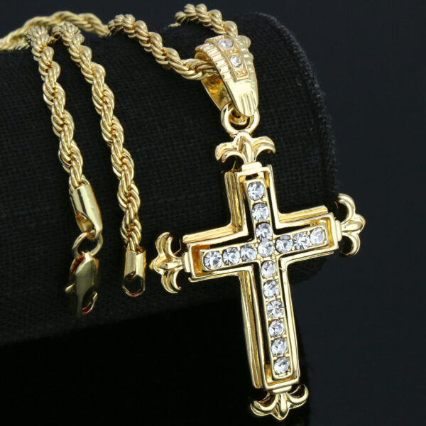 "14K Jesus Cross Pendant w/24"" Rope Chain"