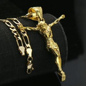 """Jesus Crucifix 14k Pendant w/18"""" Figaro Choker"""