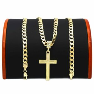 14k Flat Miami Cuban chain w/Cross Pendant