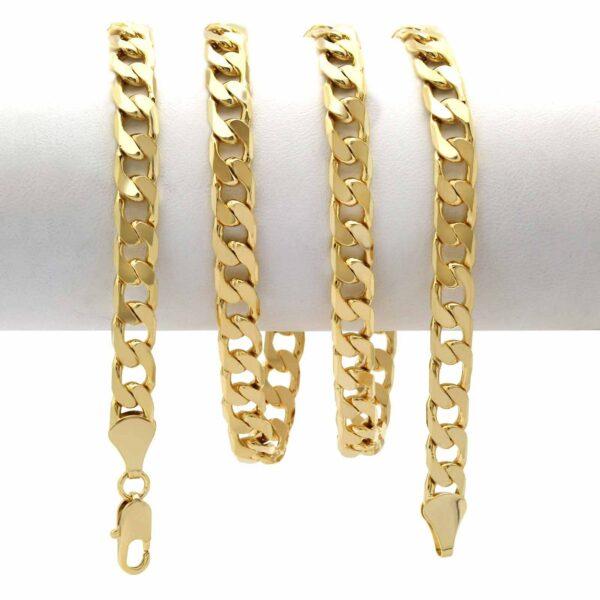 14k Flat Miami Cuban chain w/Cross Pendant