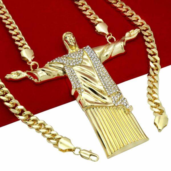 """14k Huge """" JESUS Piece"""" Pendant w/30"""" Cuban Link"""