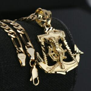 "Jesus Anchor 14k Pendant w/18"" Figaro Chain"