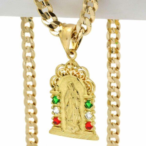 """14k Mexican Guadalupe Pendant w/ 24"""" Cuban Chain"""