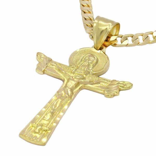 "18k JESUS Pendant w/24"" Cuban Link"