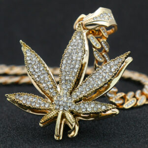 "14k Gold PT Large Marijuana Pendant 20"" Fully Cz Cuban Choker"