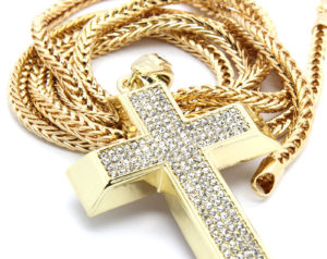 "Gold Plated Cross Pendant w/36"" Franco Chain"
