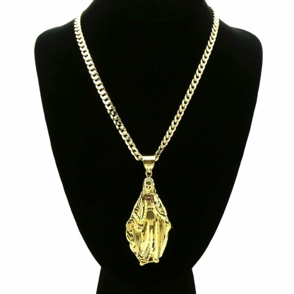"18k Virgin Mary Pendant w/24"" Cuban Chain"