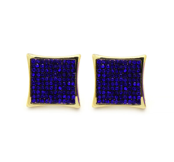14K Dome Kite Earrings 10 Row Micro Pave
