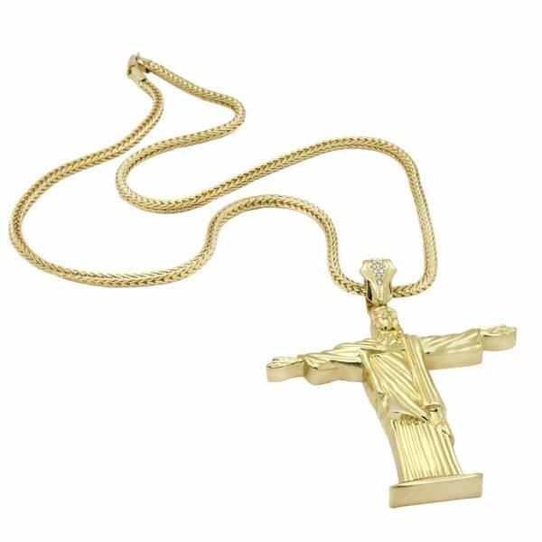 14k Gold XL Christ Pendant W/30 inch Franco Chain
