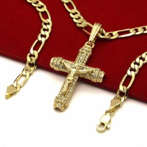 "14k Cross Pendant 5mm W/24"" Figaro chain"