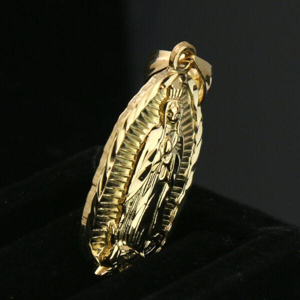 """Guadalupe 14k Pendant W/24"""" Figaro Chain"""