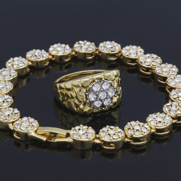 14k GP Cz Bracelet & Nugget Ring Set