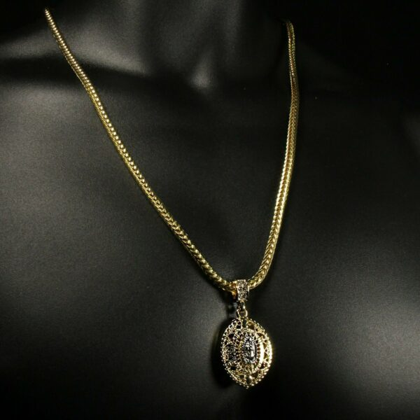 "14k Guadalupe Pendant W/24"" Franco Necklace"