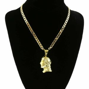 "18k Gold Plated Hip Hop JESUS Pendant W/24""Flat Cuban Chain"
