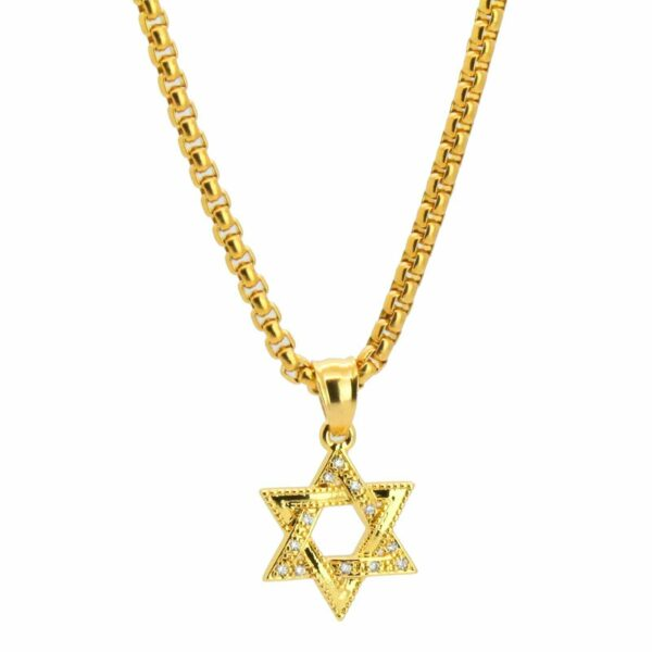 14K Star of David Pendant W/ Round Box Link Chain
