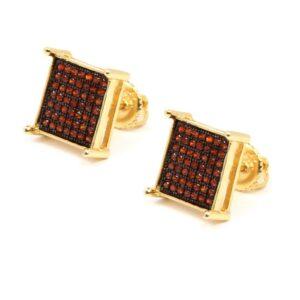 Mens 14K Red CZ Micro Pave Stud Earrings