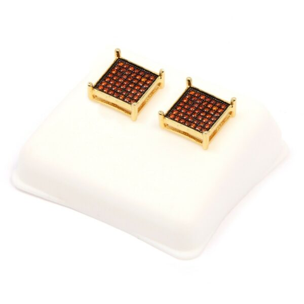 Mens 14K Red CZ Micro Pave Stud Earrings