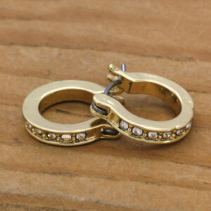 14K 1 Row Cz Huggie Hoop Earrings