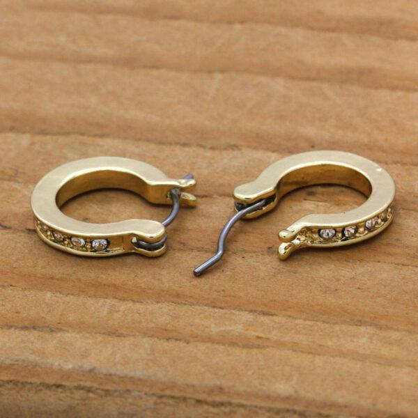14K 1 Row Cz Huggie Hoop Earrings