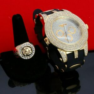 14k Medusa Pimp Pinky Ring / Techno Watch Fully Cz Dialog