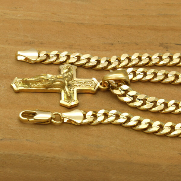 """18k Mini JESUS Shape CROSS Pendant W/24"""" Cuban Chain"""