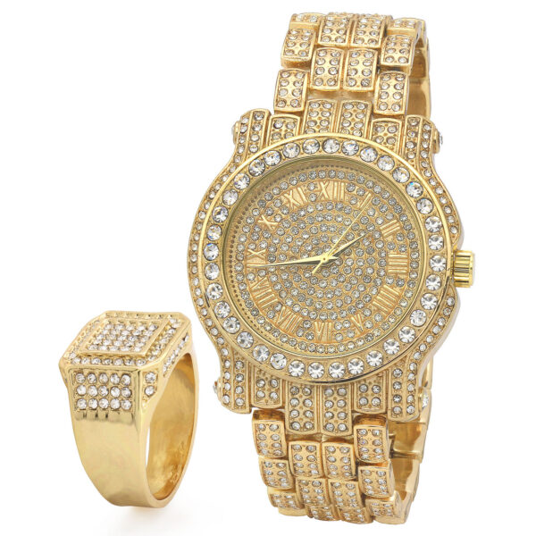 14k Gold Techno Pave Fully Cz Ring & Watch