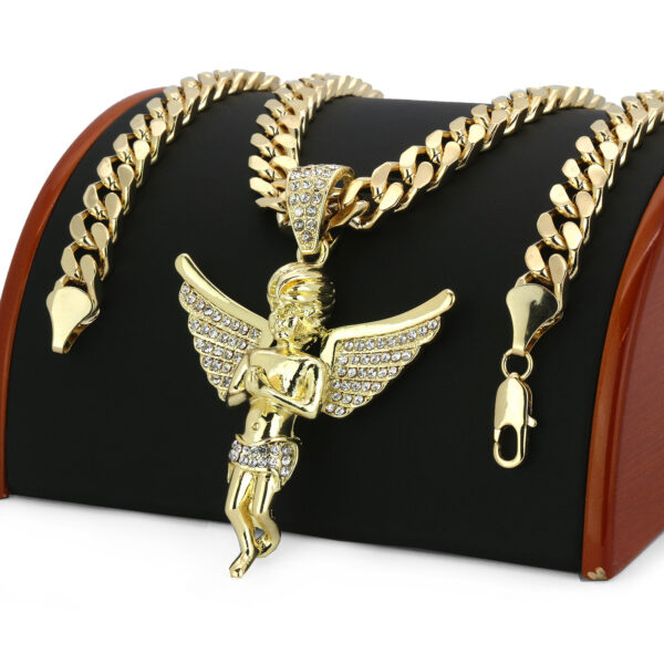"Men 14k Big Angel Pendant W/24"" Cuban Link"
