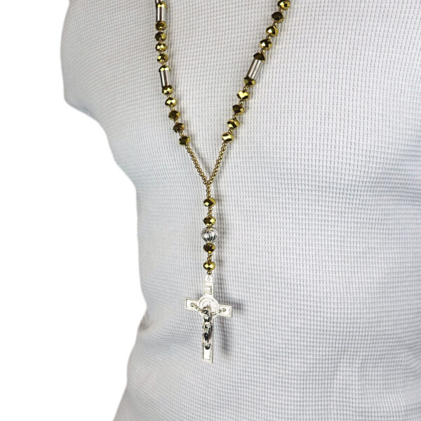 Catholic SILVER & GOLD Crystal Cut Rosary Necklace