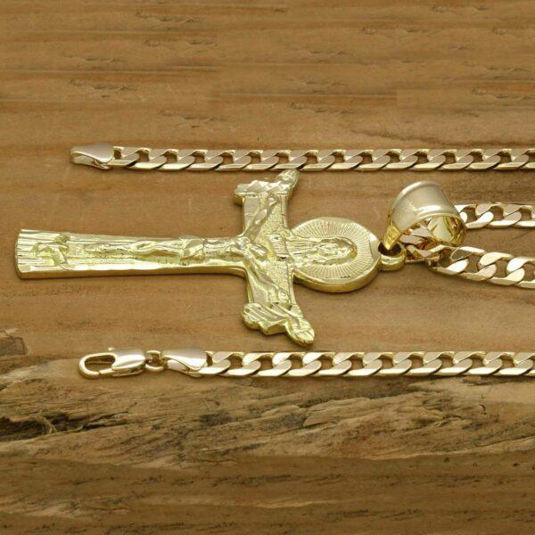 "18k Guadalupe + Cross Pendants w/24"" & 30"" Cuban Chains"