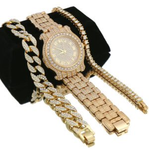 14K Watch, Cuban & Tennis Bracelet Set