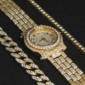 14K Watch, Cuban & Tennis Bracelet Set