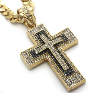 "14K Cross Gold Plated Pendant 30"" Cuban"