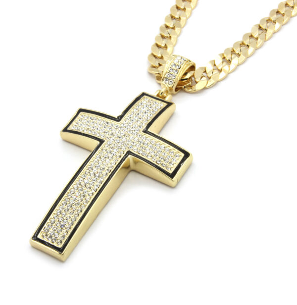"Gold/Black Cross Pendant w/30"" Cuban Chain"