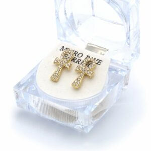 14k Gold Plated Ankh Clear Cz 19mm x 10mm Earrings