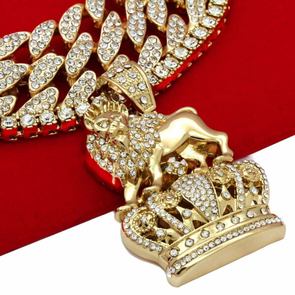 4 pcs 14k Gold Plated LION CROWN Pendant