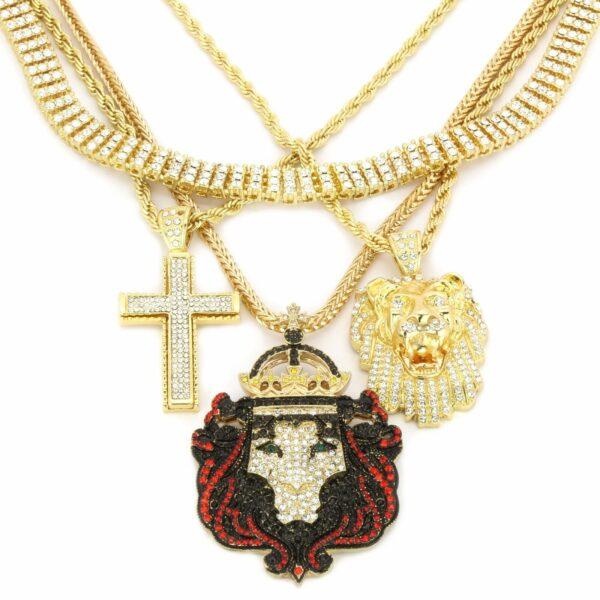 14k Lions/Cross HipHop Jewelry Bundle Set