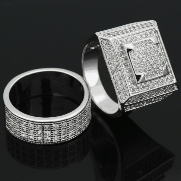 Silver Plated Hip Hop Round Square Dome Micro Pave Ring